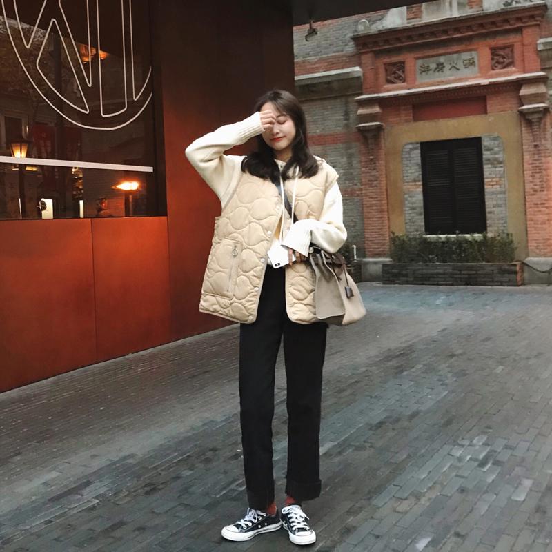 朴正义 2019新款 韩版百搭宽松显瘦黑色高腰港味牛仔裤女直筒