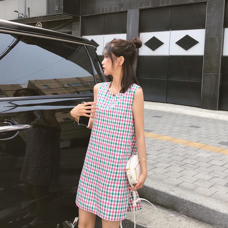 朴正义新款格子连衣裙仙女超仙甜美夏季气质长裙无袖少女网红裙子
