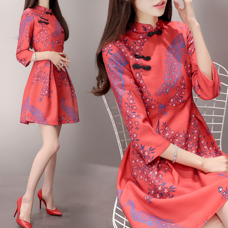 Improved cheongsam French dress womens autumn and winter New Retro thin A-line red wedding bridesmaid Platycodon skirt