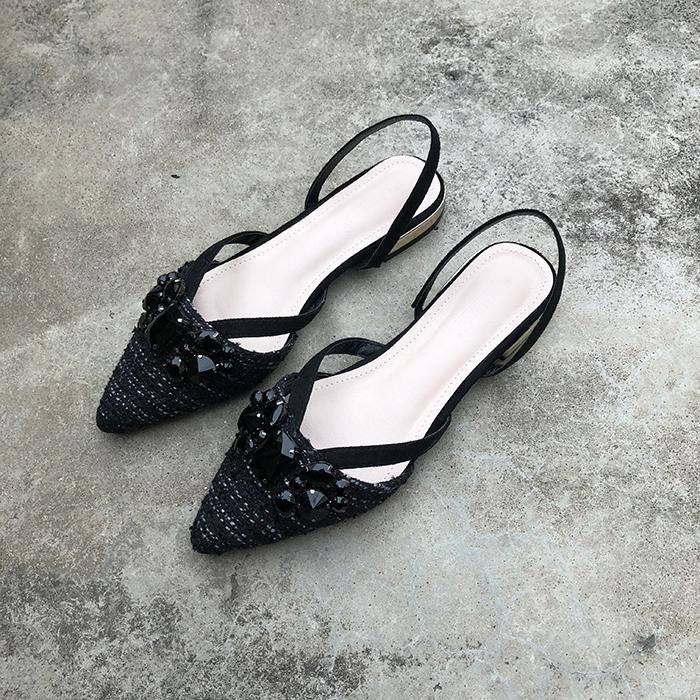 水钻低跟凉鞋女平底尖头呢子凉鞋2019新款夏季中空带钻浅口女鞋潮