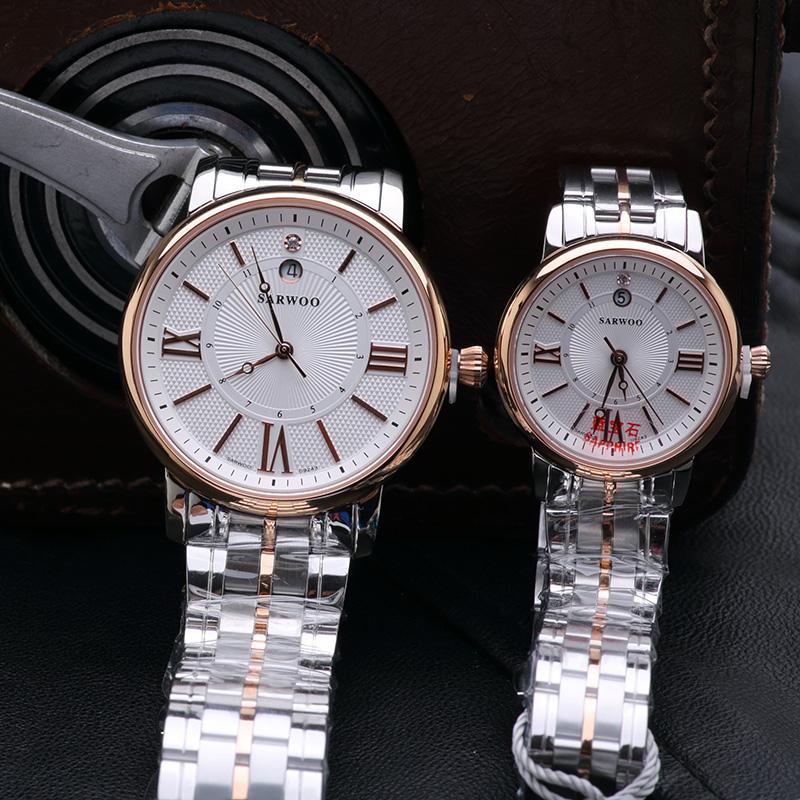 正品商沃手表休闲男女腕表防水全自动石英表情侣表白底间金