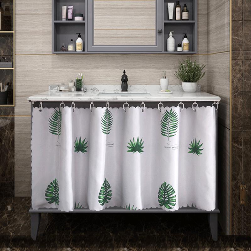 浴柜遮挡帘北欧浴室柜子拉帘免打孔洗手柜防尘帘桌子桌洞遮挡帘图片