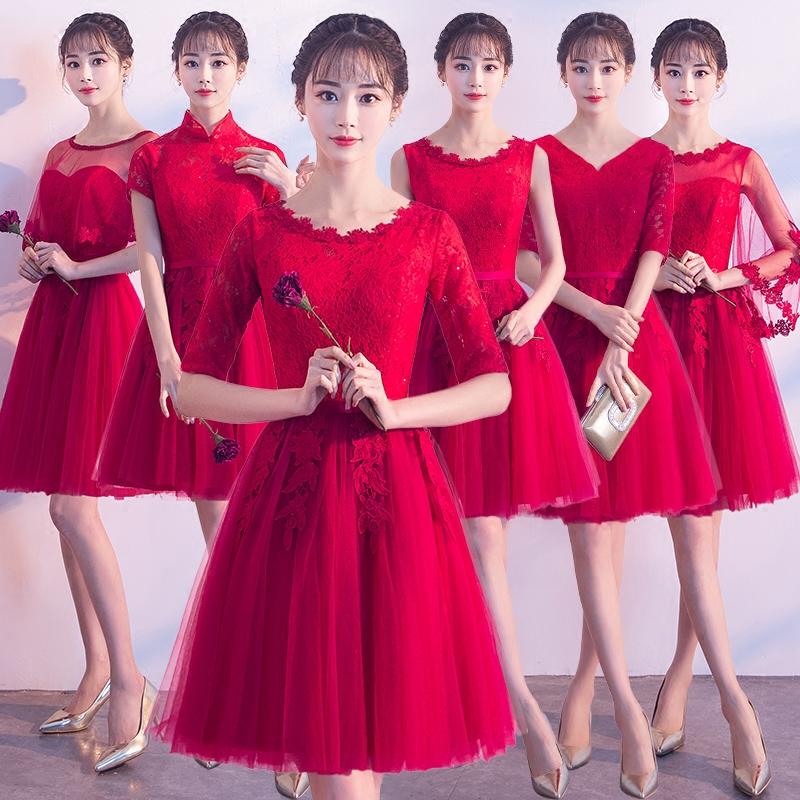 86.00元包邮伴娘服短款2019新款韩版宴会派对小礼服酒红色显瘦姐妹团姐妹裙女