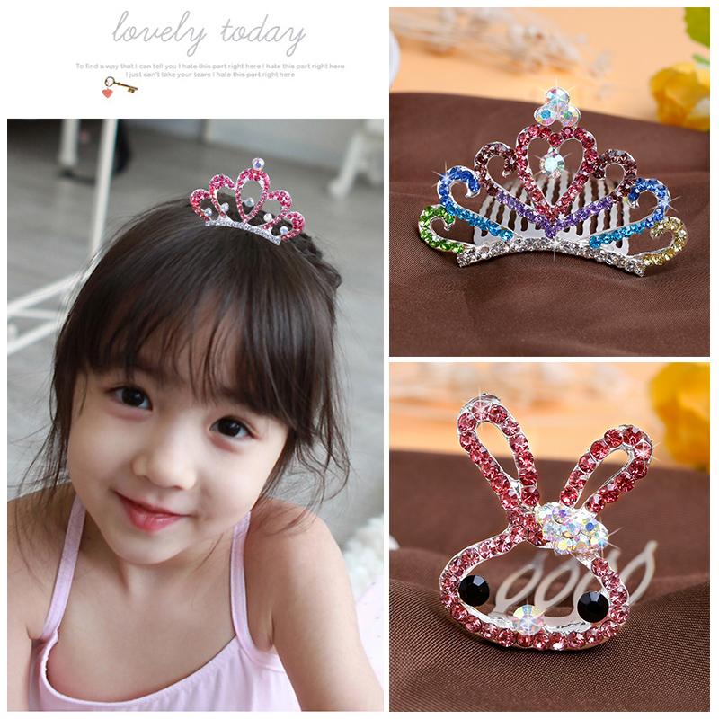 儿童发饰公主头饰品小女孩水钻皇冠发梳宝宝发卡女童可爱王冠头梳