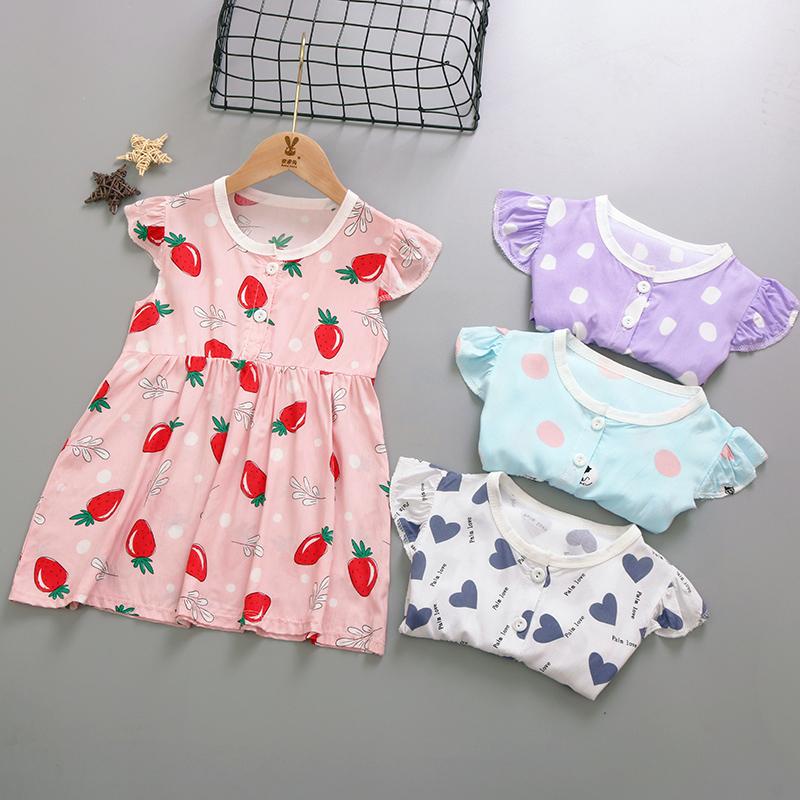 1-2岁女宝宝绵棉绸连衣裙子女童夏装人造棉婴幼儿公主裙薄款睡裙