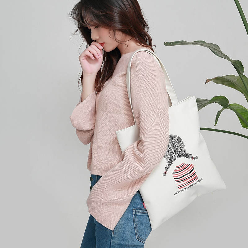 Canvas bag womens one shoulder bag women 2019 new Korean student leisure tote bag simple and versatile large capacity bag