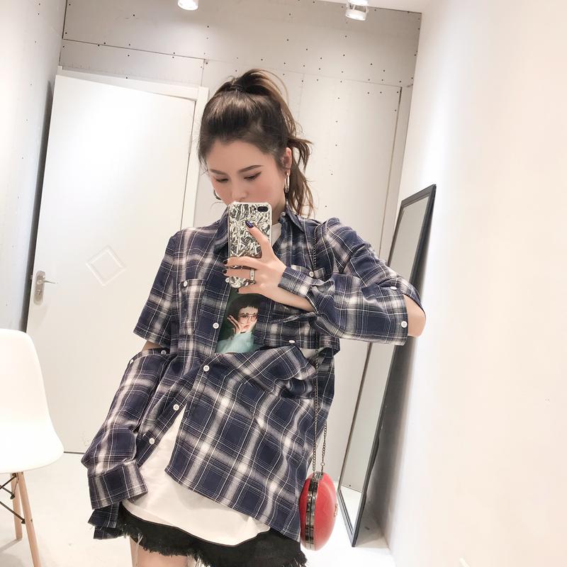 CICI 2018春装新款女装 定制款!秀场个性设计宽松长袖格子衬衫