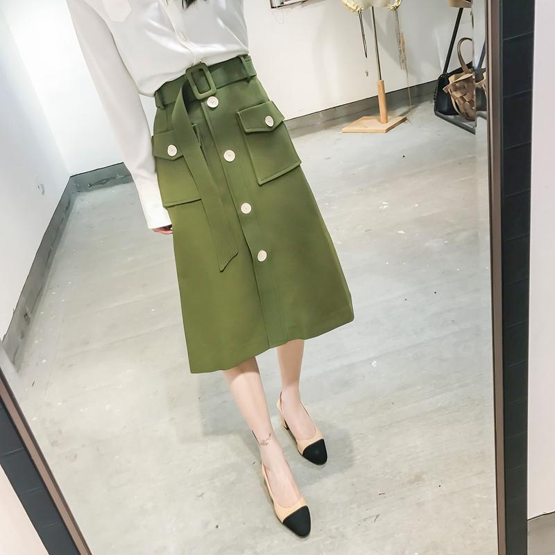 CICI 2017春季新款女装 韩版品质斜纹面料高腰贝壳扣腰带半身裙