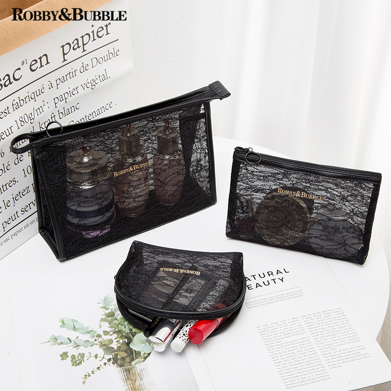 Net red make-up bag womens super fire portable compact small size large capacity transparent mesh travel storage bag