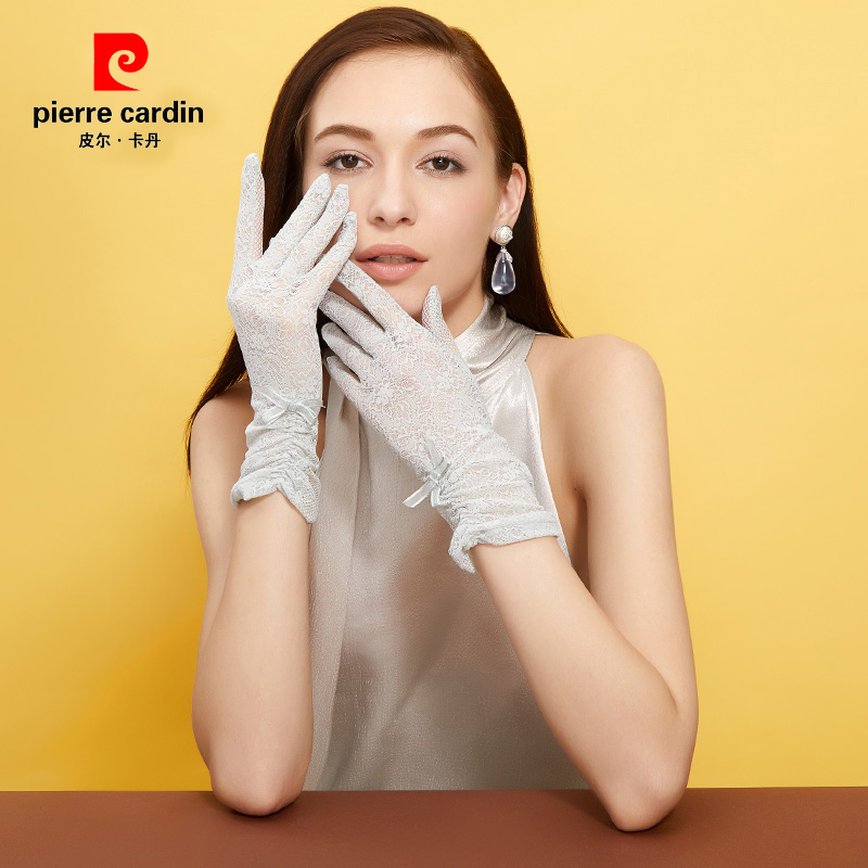 Pierre Cardin ice cool sunscreen womens gloves anti ultraviolet short ice in summer riding driving elastic thin lace