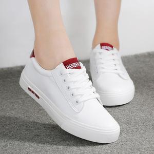 人本鞋子大码女鞋40-41-43皮面帆布鞋百搭平底小白鞋学生休闲鞋42