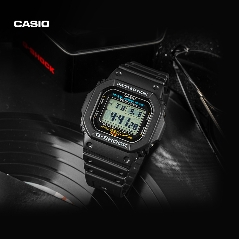 Casio flagship store g-5600e small square men's fashion electronic watch official G-Shock