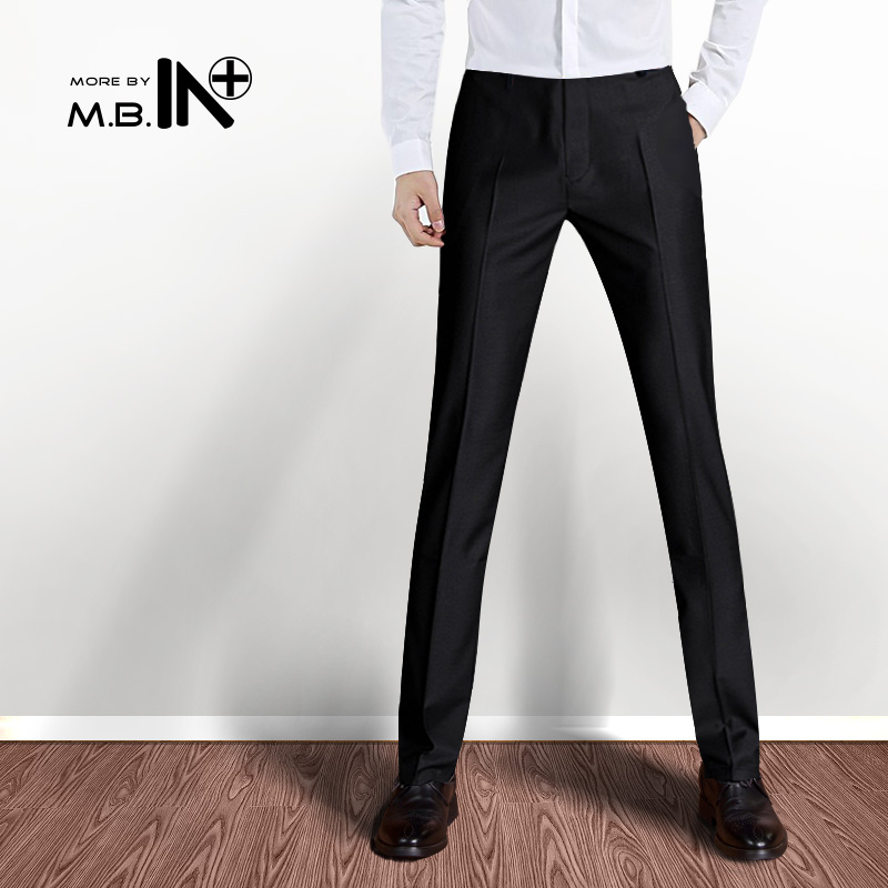 Mbin mens suit pants slim casual overalls black spring and summer business youth work pants