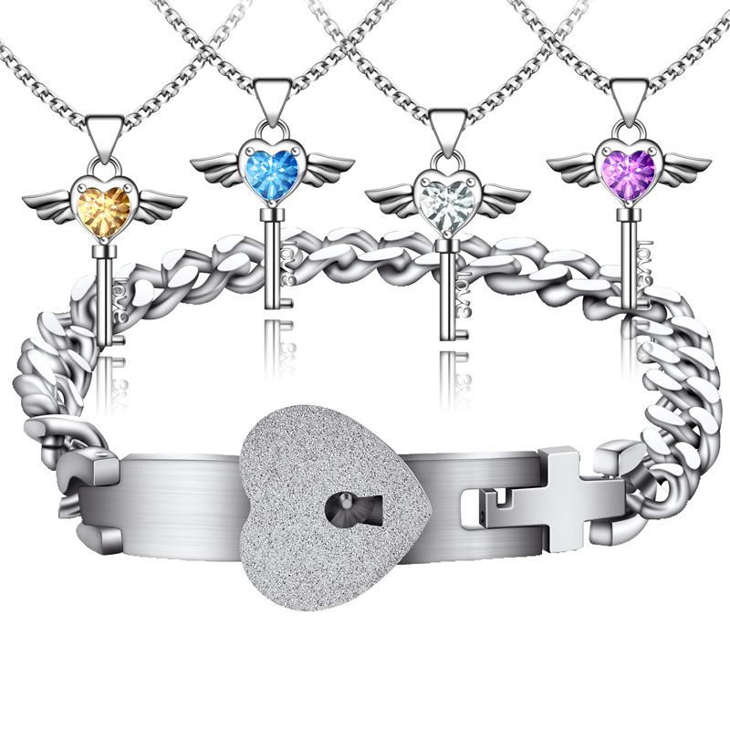 Heart lock Bracelet titanium steel men and women interlock with lock key couple Bracelet a pair of concentric lock eternal Ring Bracelet