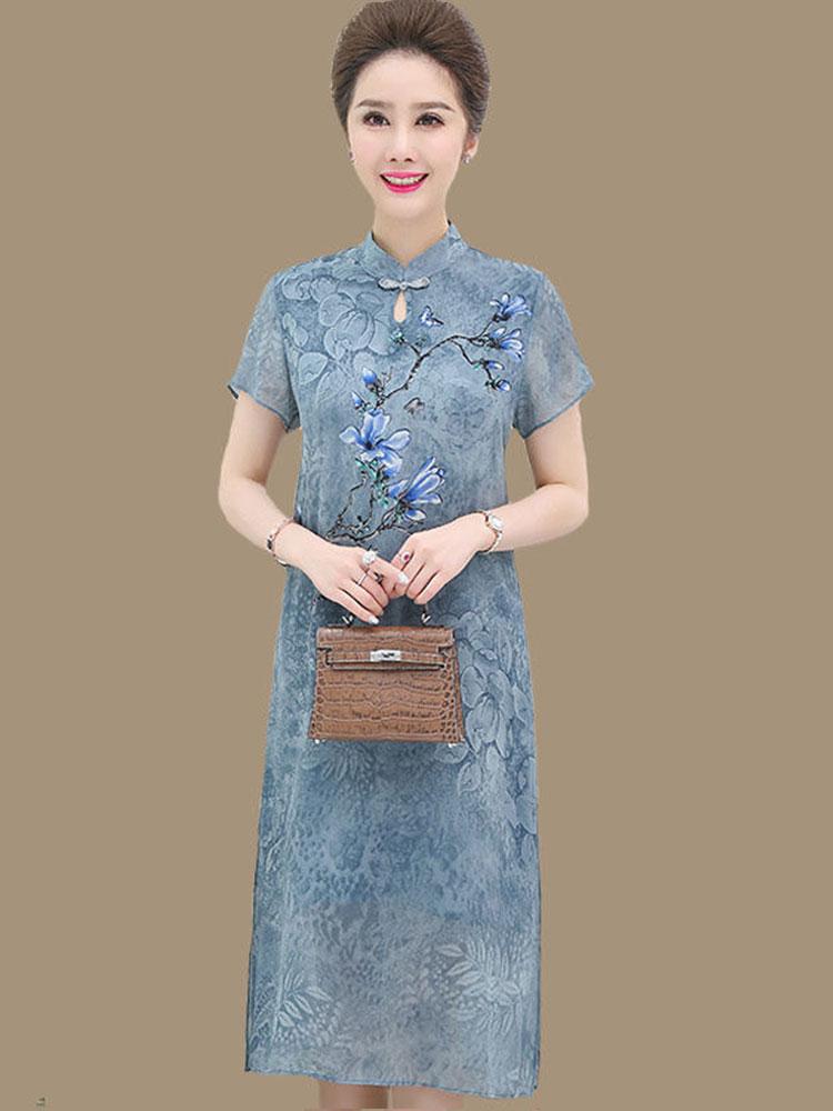 夏季新款妈妈装真丝连衣裙婚礼旗袍气质中老年女装桑蚕丝大码裙子券后148.00元