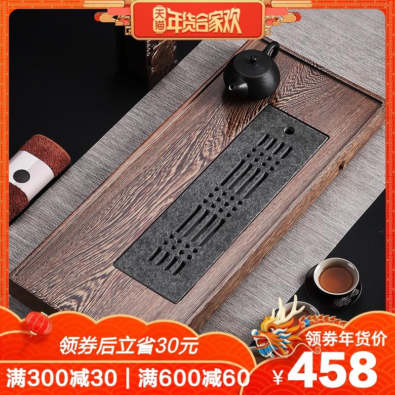 鸡翅木茶盘实木家用茶台储水式长方形排水式茶海乌金石茶盘 整块