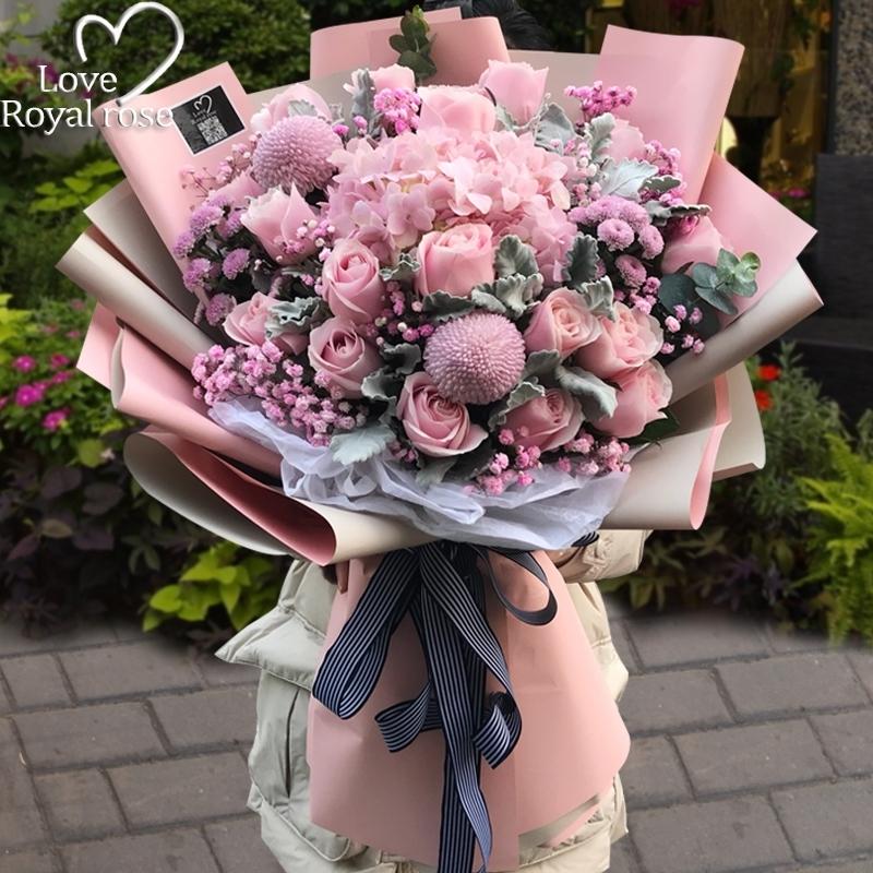 杭州鲜花速递同城玫瑰花绣球桔梗混搭花束爱人生日订花店送花上门