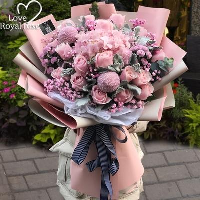 三八女神节杭州鲜花速递同城玫瑰花混搭花束爱人生日订花店送上门