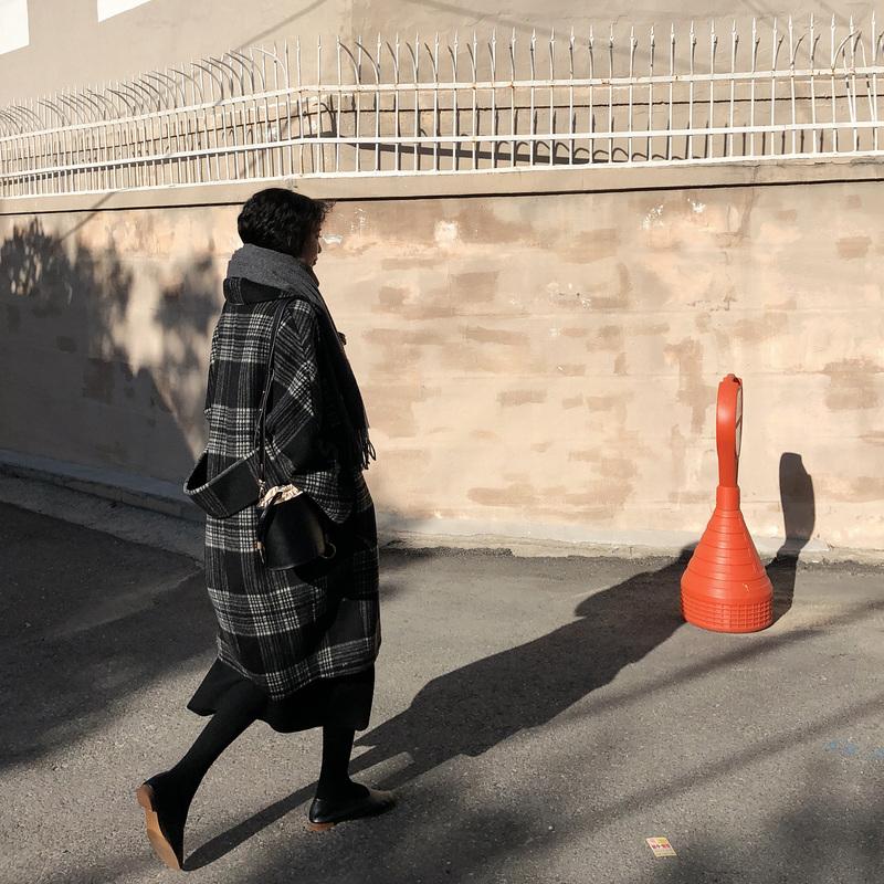 JHXC复古格子毛呢外套女中长款2018秋冬新款学生韩版双面羊绒大衣