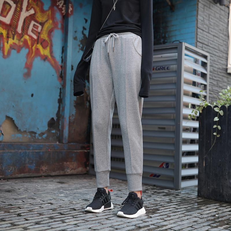 满85.00元可用10元优惠券jhxc加绒加厚灰色宽松小脚潮哈伦裤
