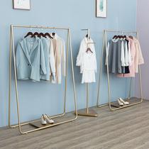 创意衣服架子服装店展示架落地式组合金色女装店货架铁艺中岛陈列