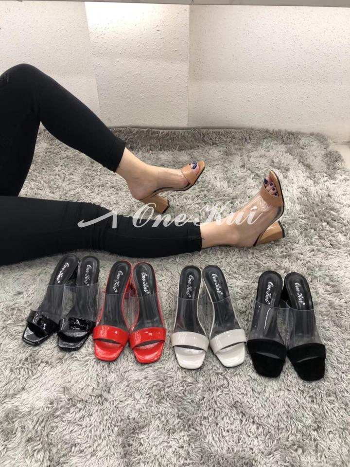 Onekui spring and summer 2018 new product simple transparent open toe slippers in Europe and America square head thick heel sandals high heel sandals for women