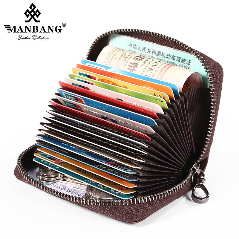 Manbang Men's Card Holder Multi-card Position Retro Organ Anti-theft Brush Ultra-thin Mini First Layer Cowhide Leather Compact Card Holder