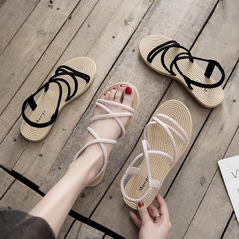 中國代購 中國批發-ibuy99 凉鞋女 少女凉鞋  平跟初中高中女生凉鞋平底鞋学生软底舒适防滑