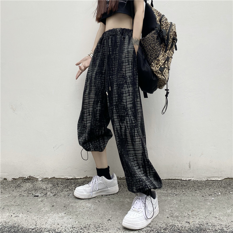 实拍 2021夏季新款百搭休闲潮流高腰垂感阔腿裤 宽松显瘦拖地长裤
