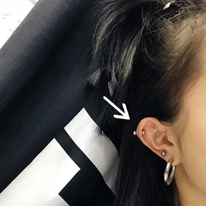 美伢同款双球耳骨钉不锈钢冷淡风耳钉银色纯色双头简约圆球耳环