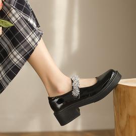 玛丽珍小皮鞋女2021夏季新款学院风jk鞋粗跟漆皮厚底复古鞋女水钻