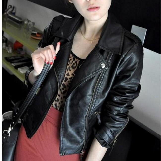 2021 new spring and autumn Korean version Lapel locomotive PU Leather Slim short fashion thin jacket leather womens small coat