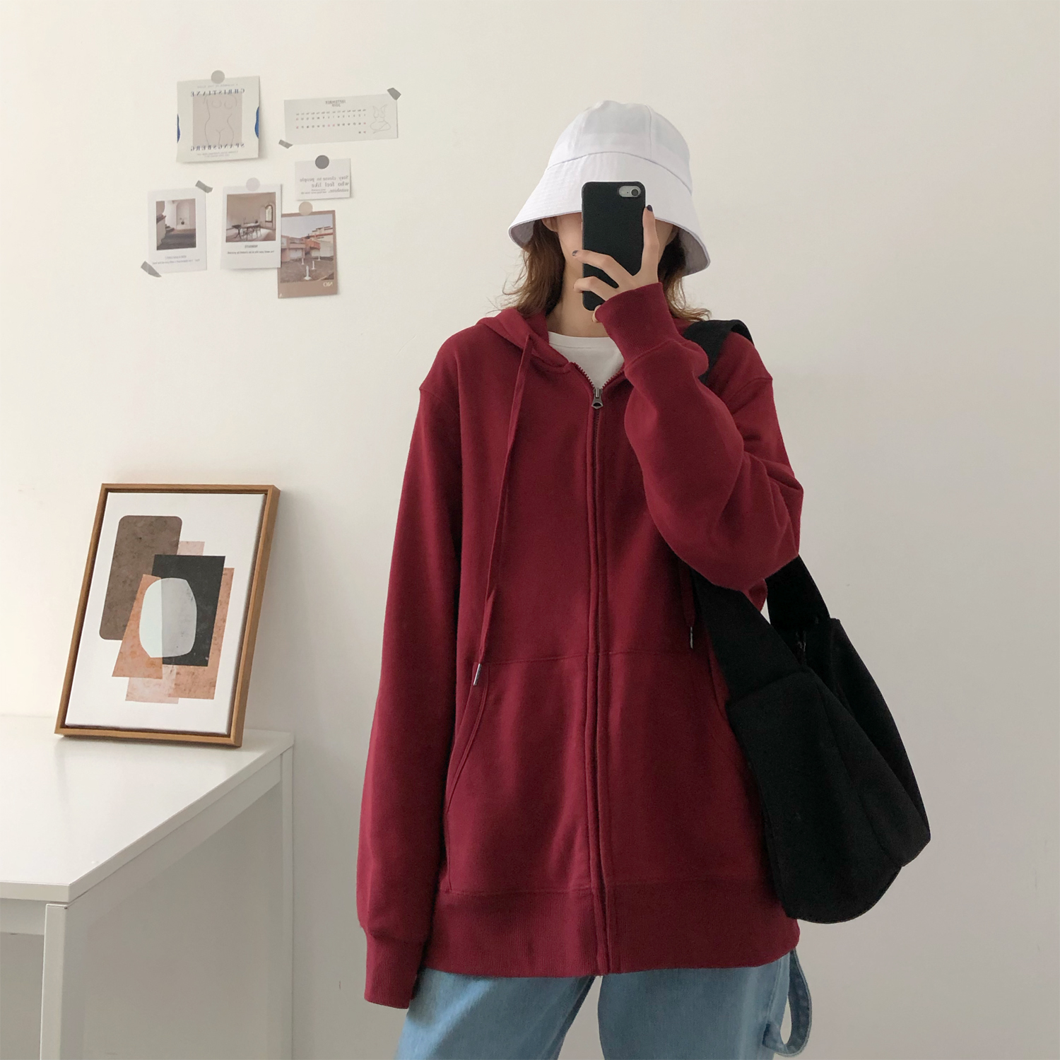 Womens sweater loose casual zipper solid color simple show thin all around lazy personality hooded solid color trendy coat