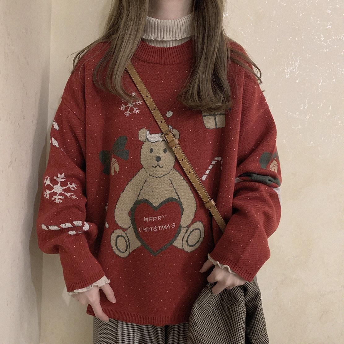 可可里小姐秋冬女韩版ins复古学院风宽松套头童趣学生针织衫毛衣