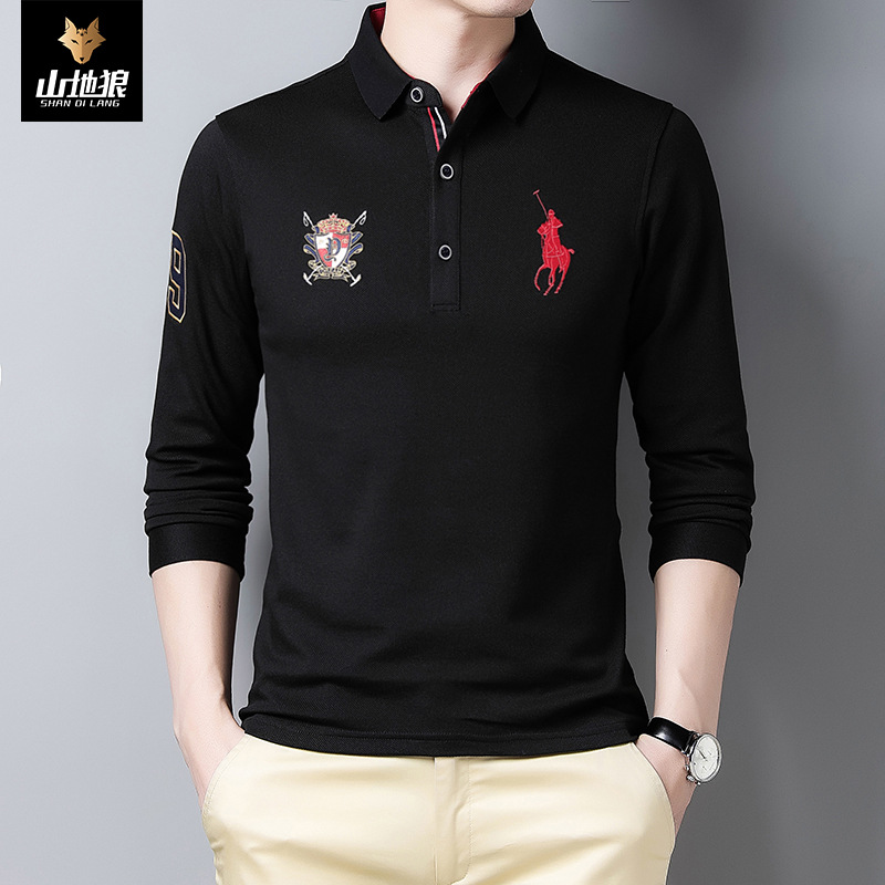 New mountain wolf mens 2021 spring new Paul polo shirt mens Lapel casual business t-shirt men