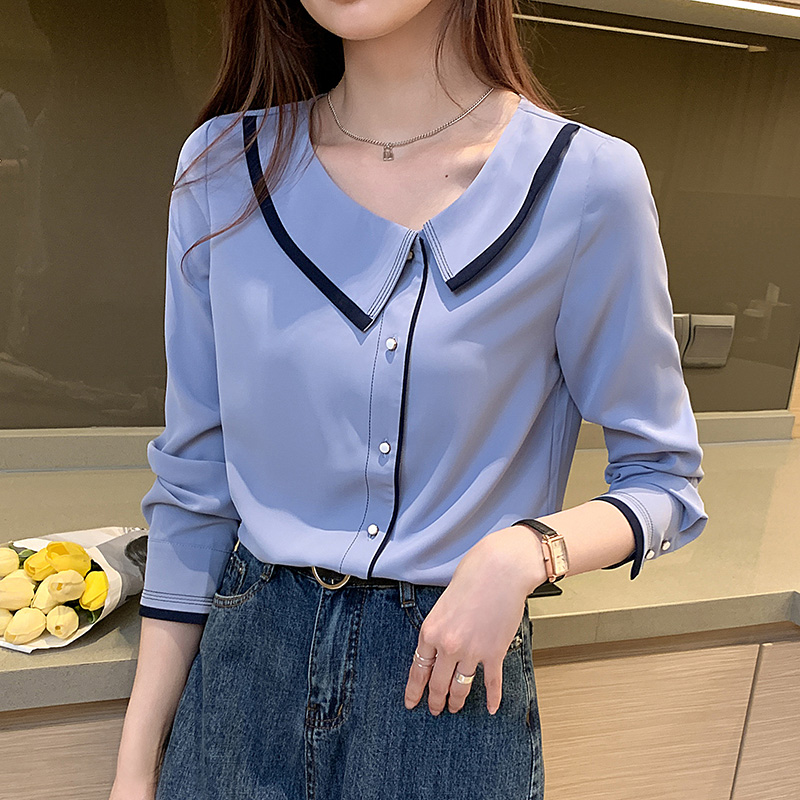 Autumn 2020 new long sleeve womens top design sense small French shirt large size loose chiffon shirt trend