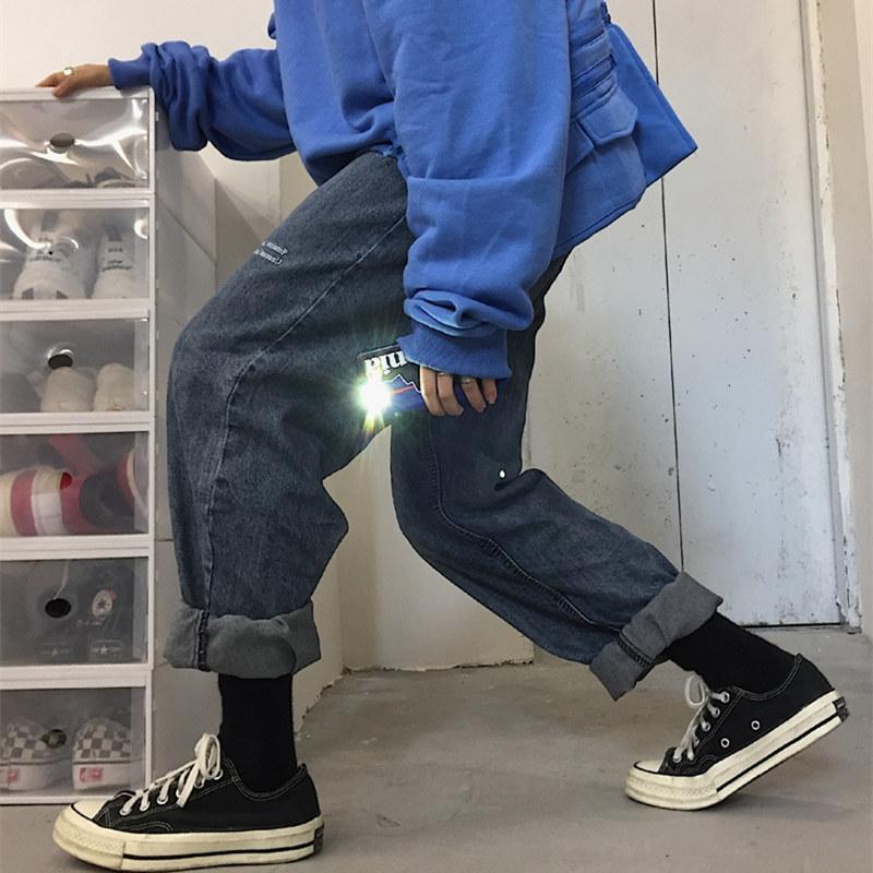 Korea studios.韩国复古港风简约字母印花做旧直筒牛仔裤 男女款