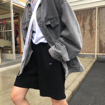 卤卤lulu 黑色运动休闲短裤2020新款宽松bf风五分裤女直筒港味夏