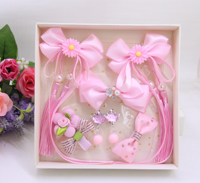 Childrens headwear Birthday Gift Box Set Princess tassel fresh girl hairpin headdress baby retro Headband