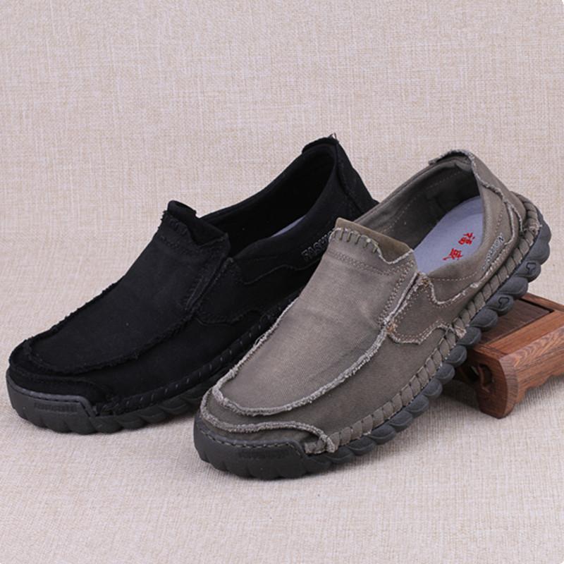 老北京布鞋男单鞋春秋季正品一脚蹬软底休闲鞋防臭牛筋底帆布鞋男