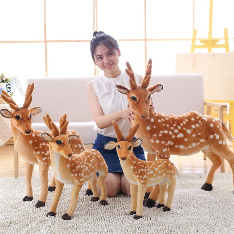 圣诞节梅花鹿毛绒玩具小鹿娃娃公仔仿真动物麋鹿儿童礼物摄影道具