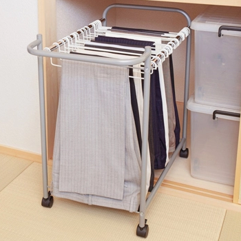 Multi functional household Japanese clothes cabinet storage artifact multi layer pants clip jeans rack moving magic no trace