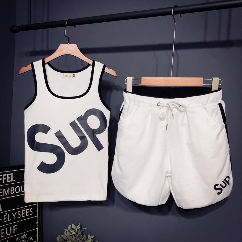 社会精神小伙背心套装潮流背心男夏季短裤两件套快手红人运动套装