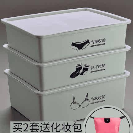 放内衣内裤袜子女分类整理箱宿舍收纳盒抽屉式三件套有盖分格家用