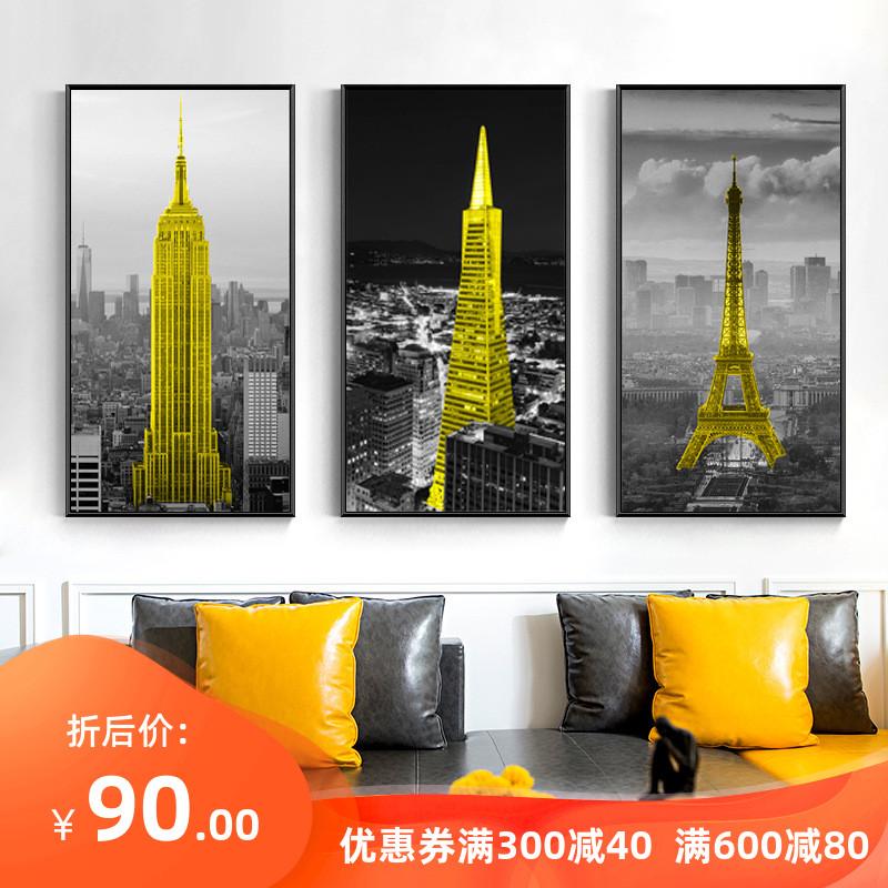 黑白城市建筑装饰画工业风竖版玄关墙面简约现代客厅墙画大幅挂画图片