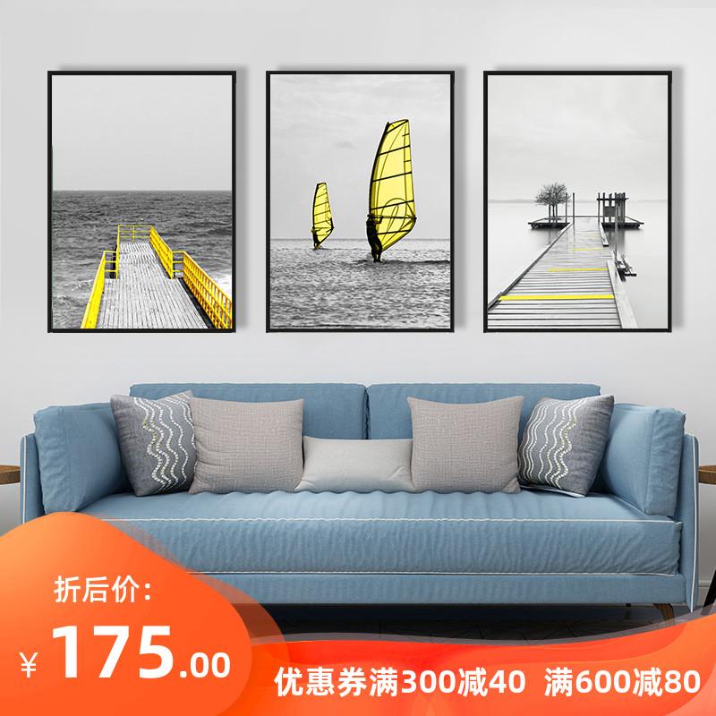 工业风黑白黄装饰画客厅沙发背景墙组合挂画现代餐厅玄关风景壁画图片