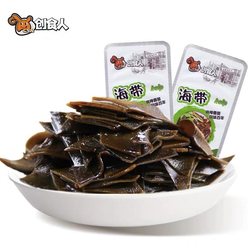 创食人香辣海带片500g脆辣裙带菜开袋即食休闲特产小零食下饭菜