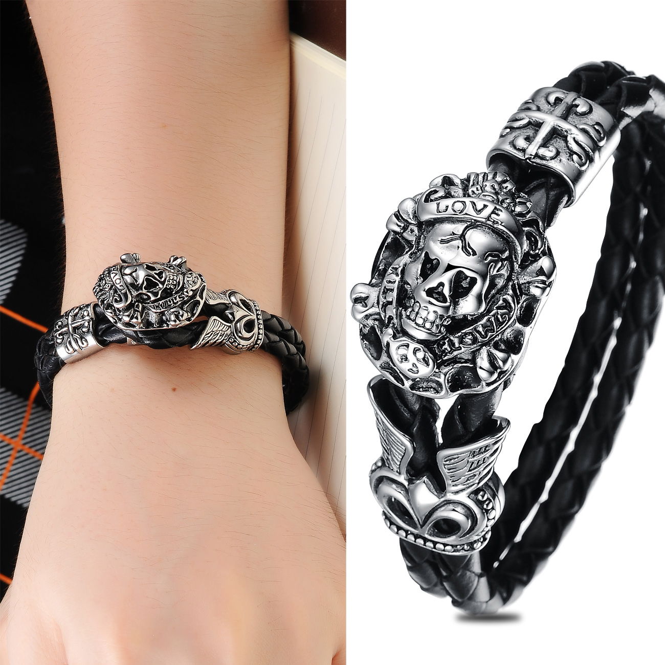 Hip hop rock style jewelry European and American fashion trend creative personality skull titanium steel Leather Rope Bracelet male