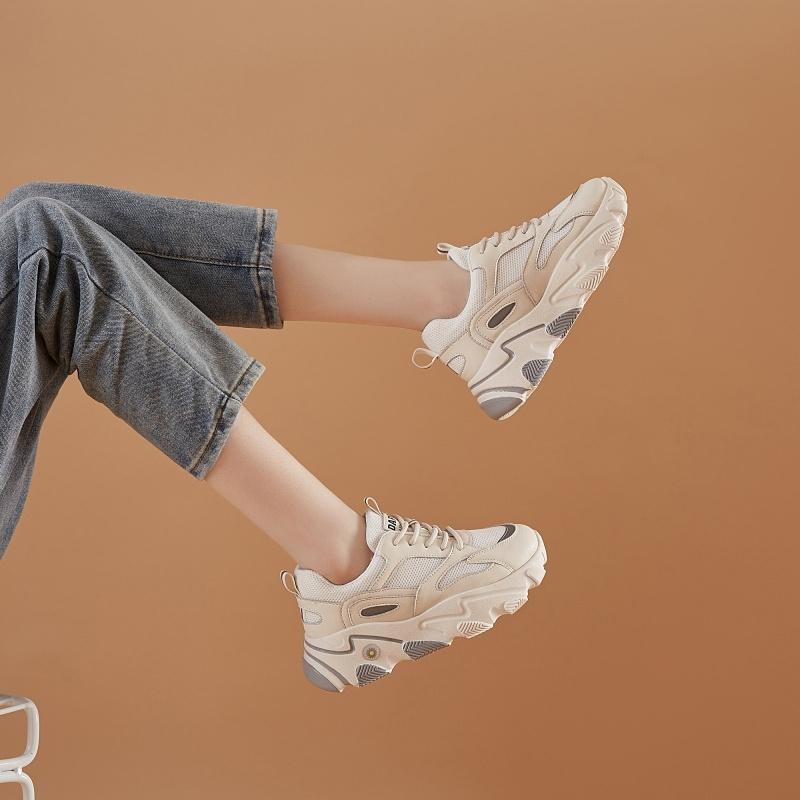 潮ins新款真皮老爹鞋女厚底网红超火运动鞋达芙妮专柜正品女鞋