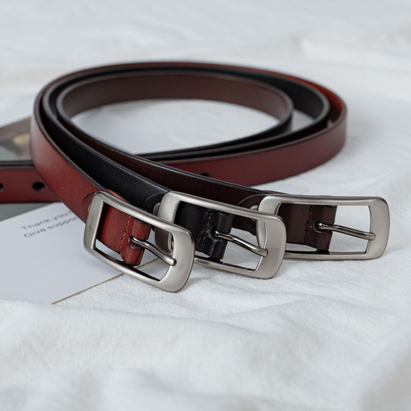 Leather belt womens leather pure head layer leather simple and versatile Korean Fashion Black pin buckle with Jeans Belt